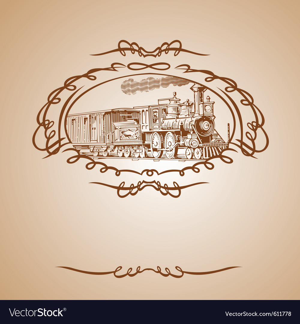 Old train banner vector