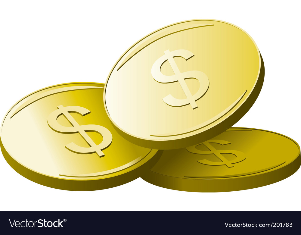 Golden dollars vector