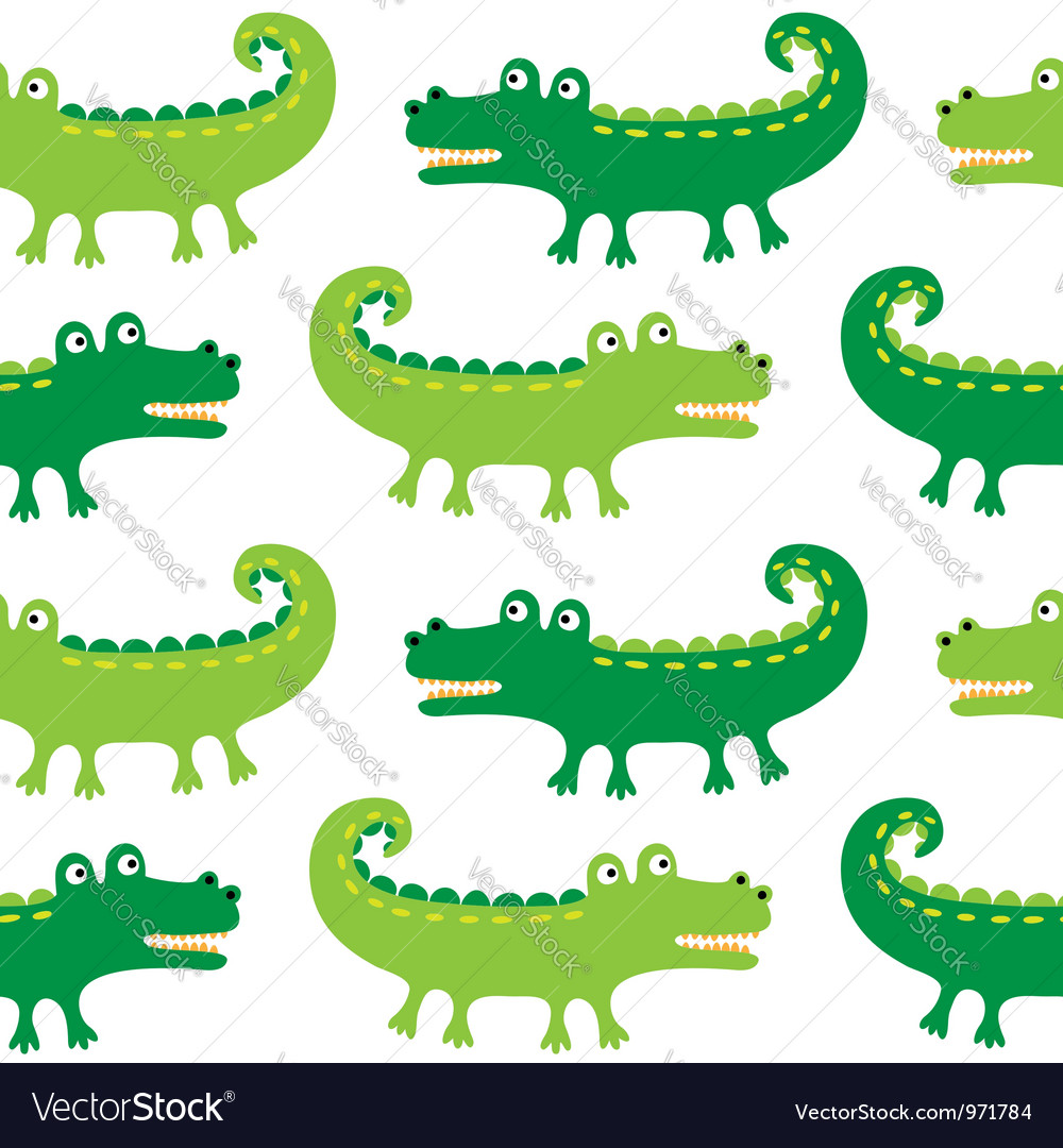 Cartoon crocodiles seamless pattern vector