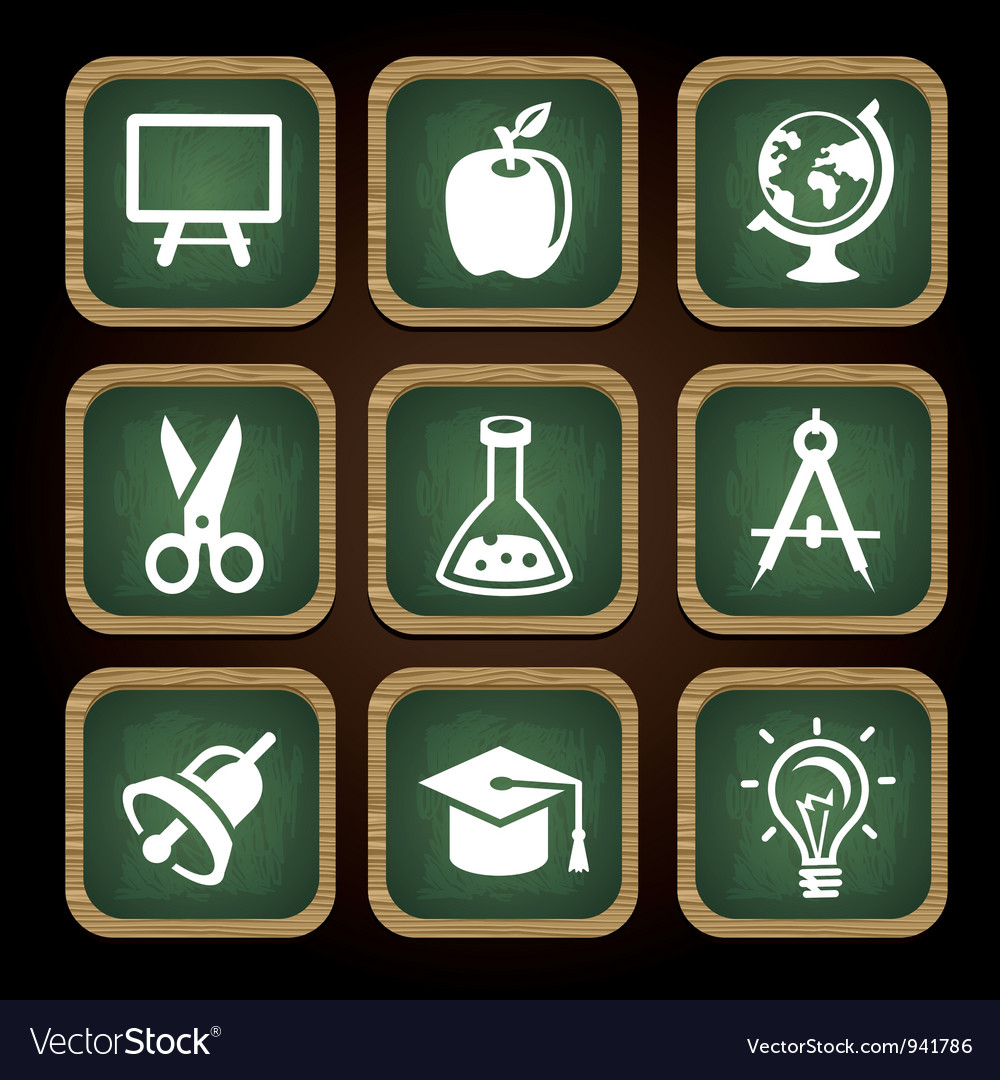 Education icons in square frames  back to school vector