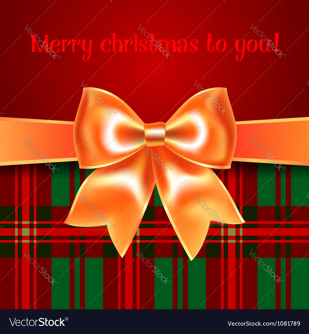 Merry christmas background with yellow ribbon bow vector