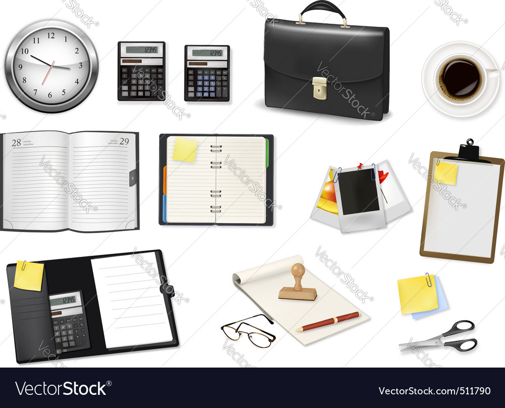 Office and business items vector
