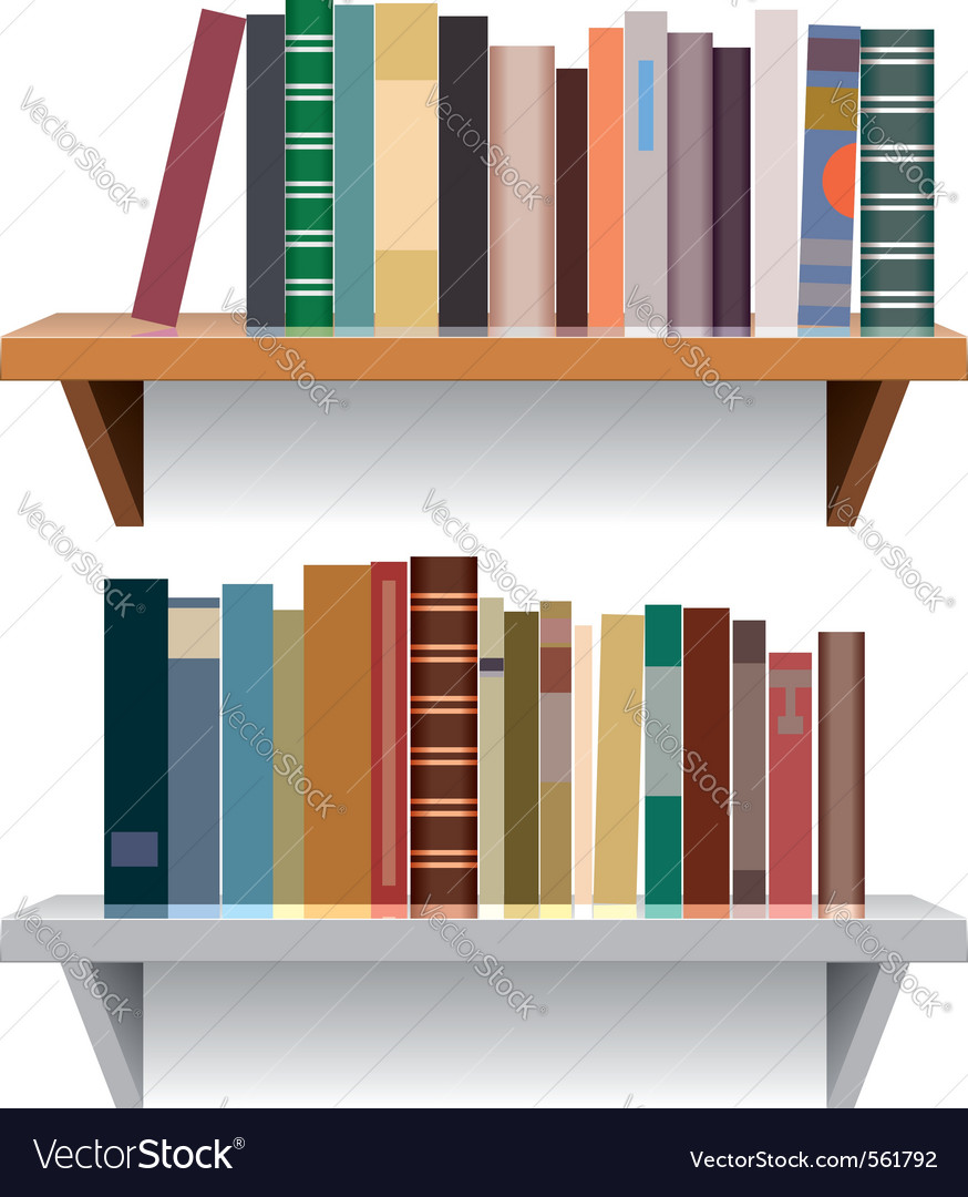 Modern bookshelves vector