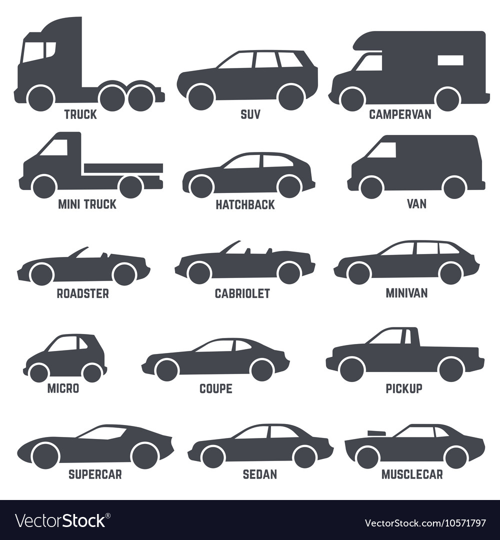 Car automobile types black icons isolated vector by ...