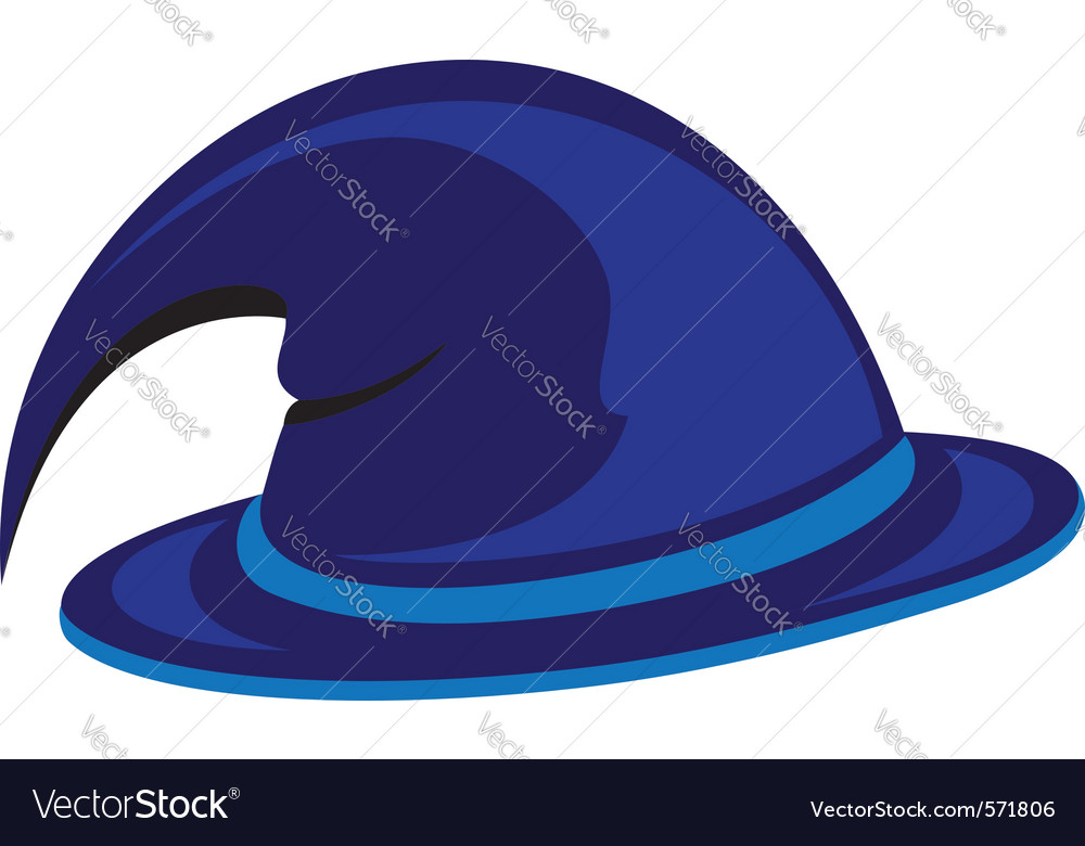 Blue witch hat vector