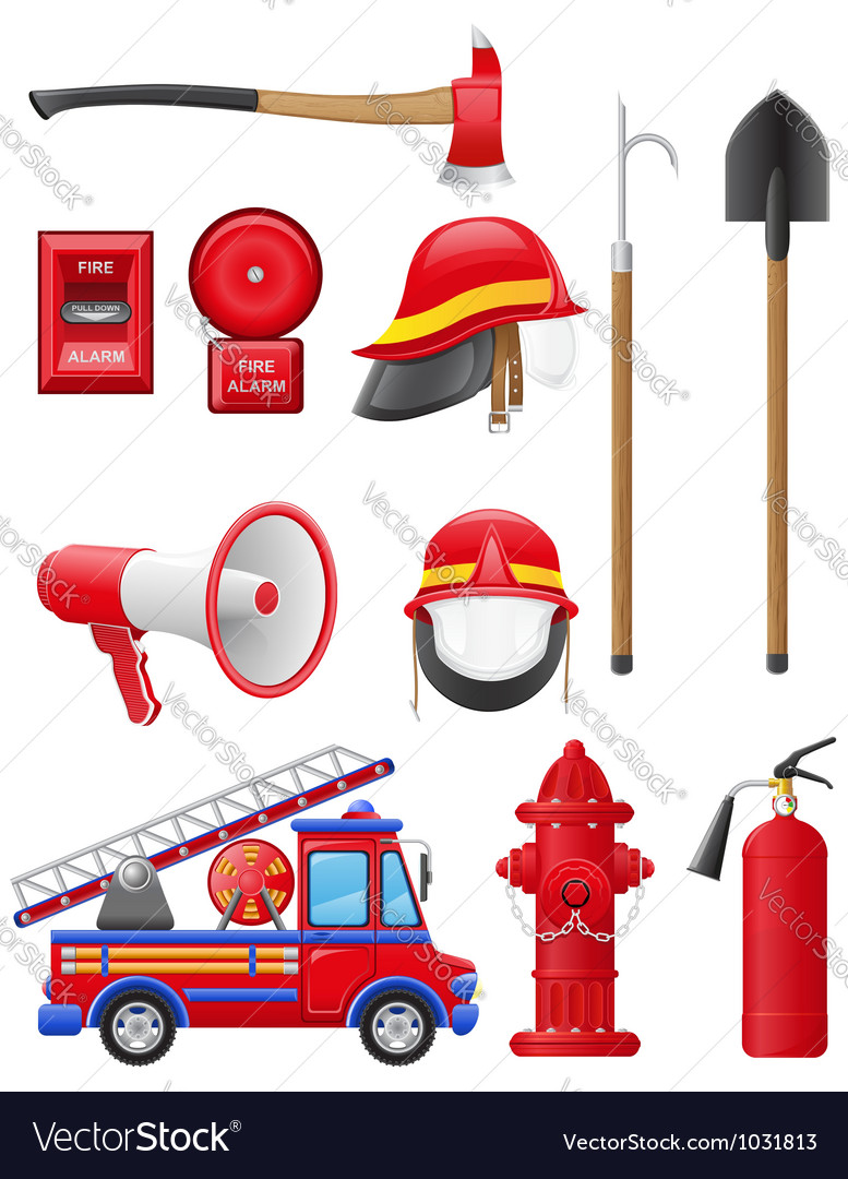 Set icons of firefighting equipment vector