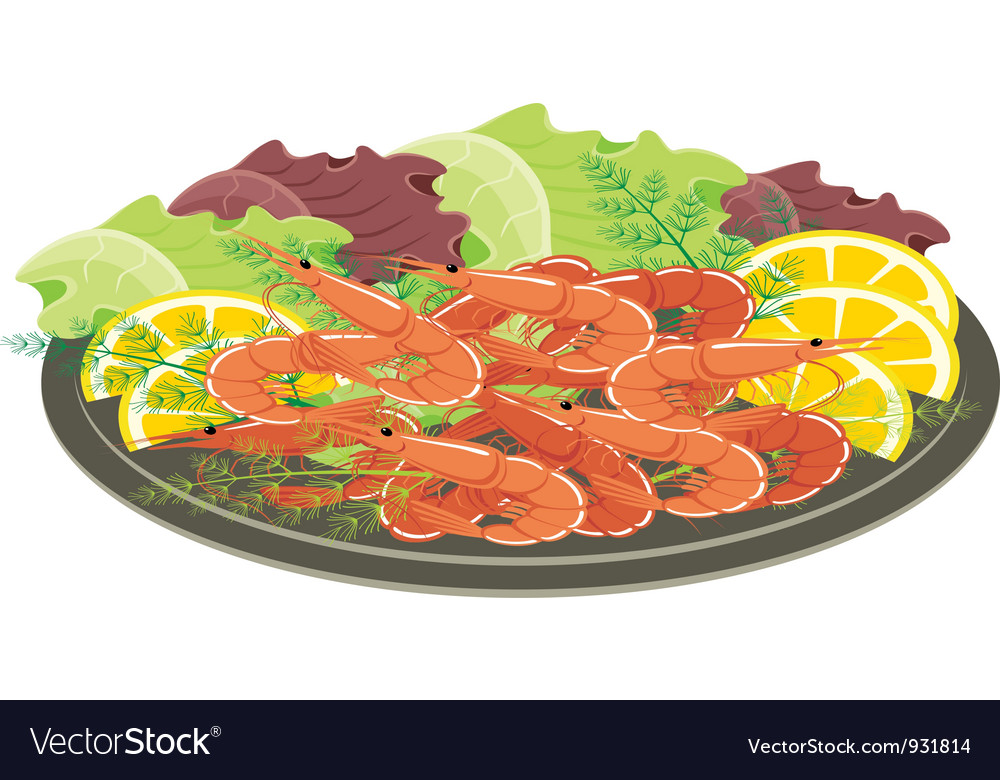 Dish from shrimps and vegetables vector