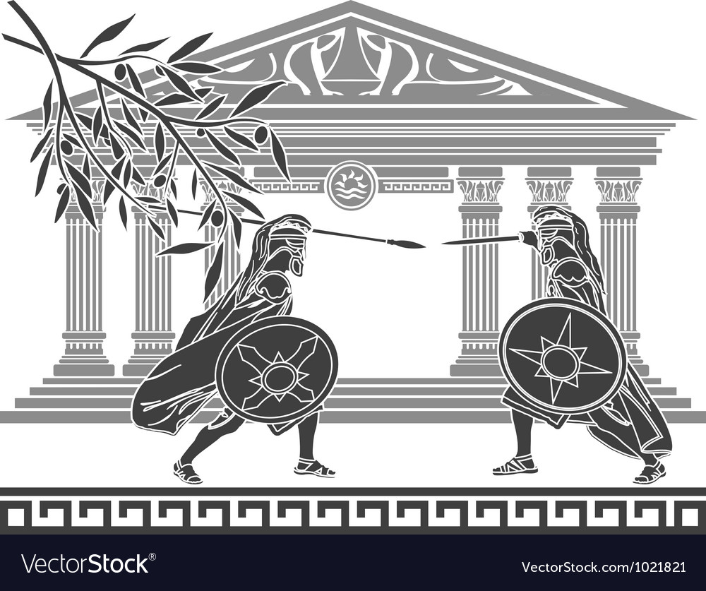Greek warriors and temple vector