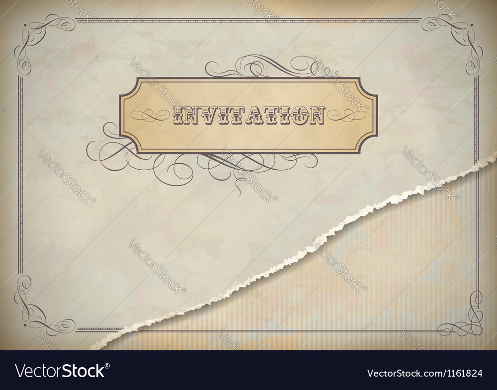 Vintage invitation design with label text frame vector