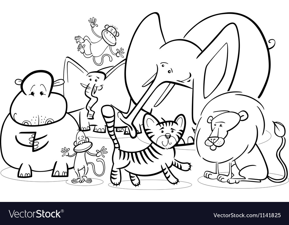 African safari animals cartoon for coloring vector