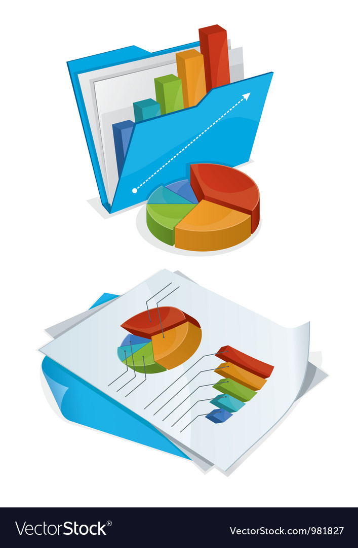 Folder and papers with charts vector