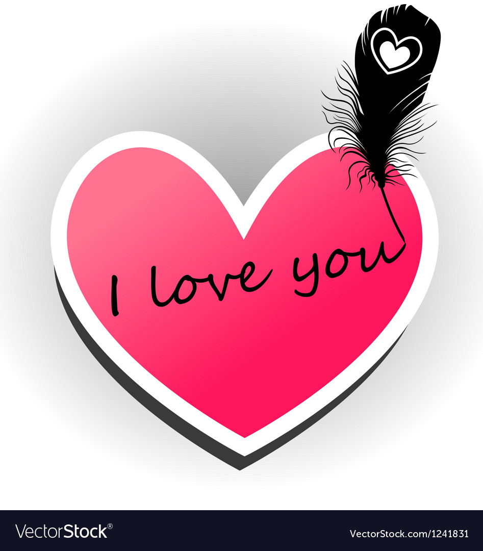 I love you on the heart vector