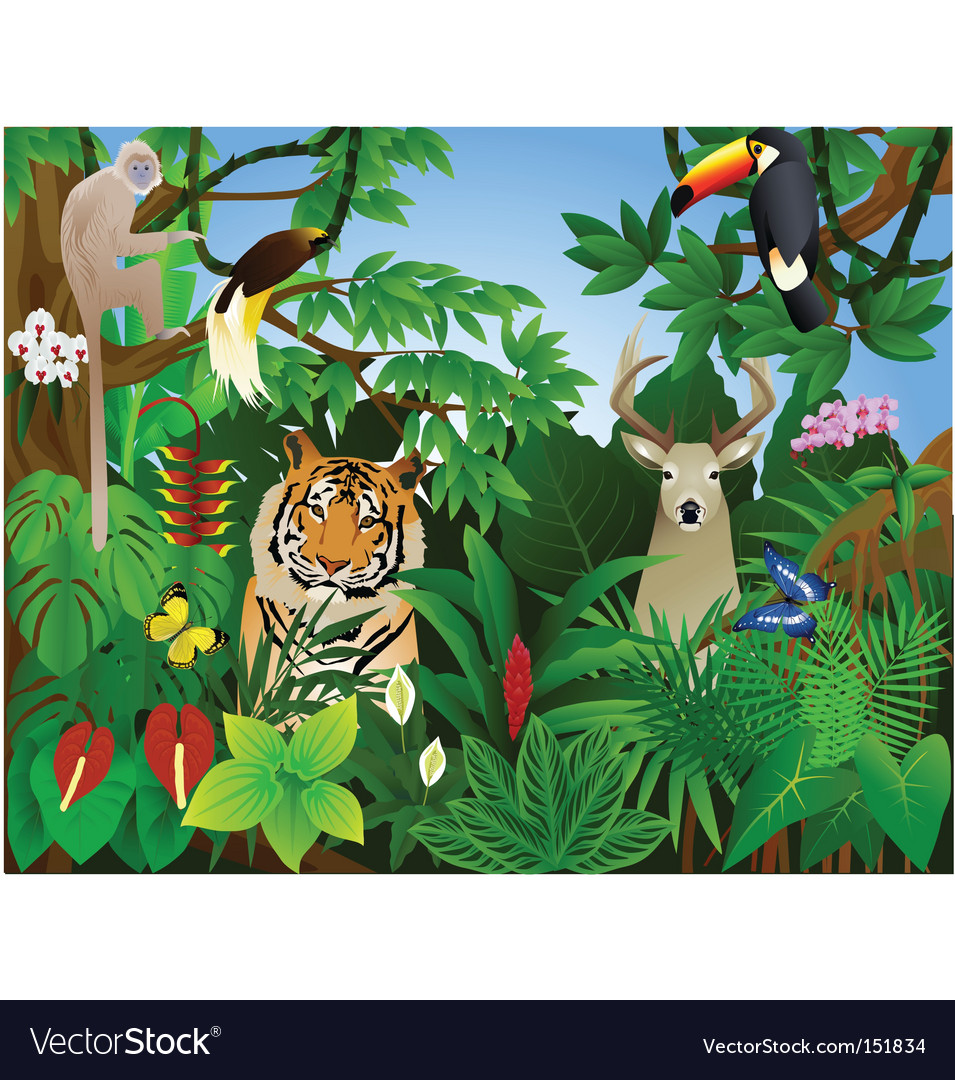 Tropical animal in the jungle vector