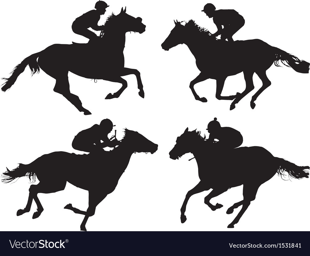 Horse racing silhouette vector