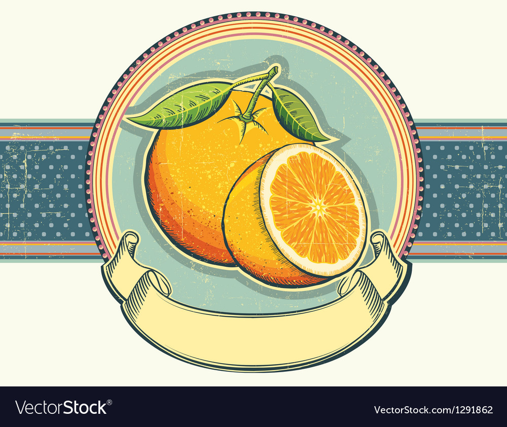 Vintage label on old paperorange fresh fruits vector