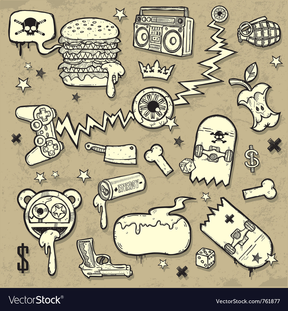 Collection of grunge clipart vector