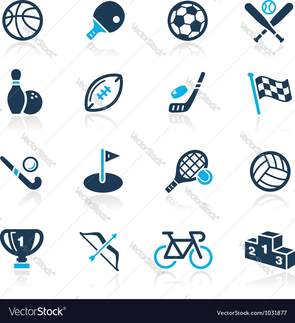 Sports icons azure series vector