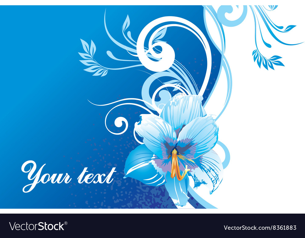 Blue floral background with text space