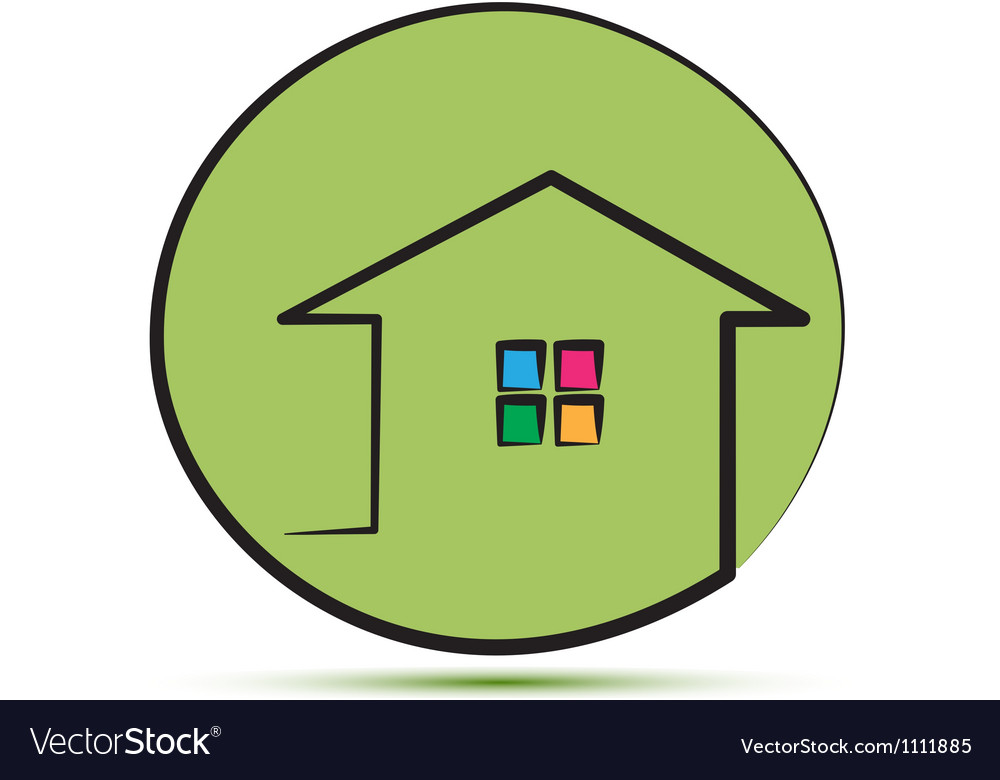 Green house in a stroke line silhouette vector