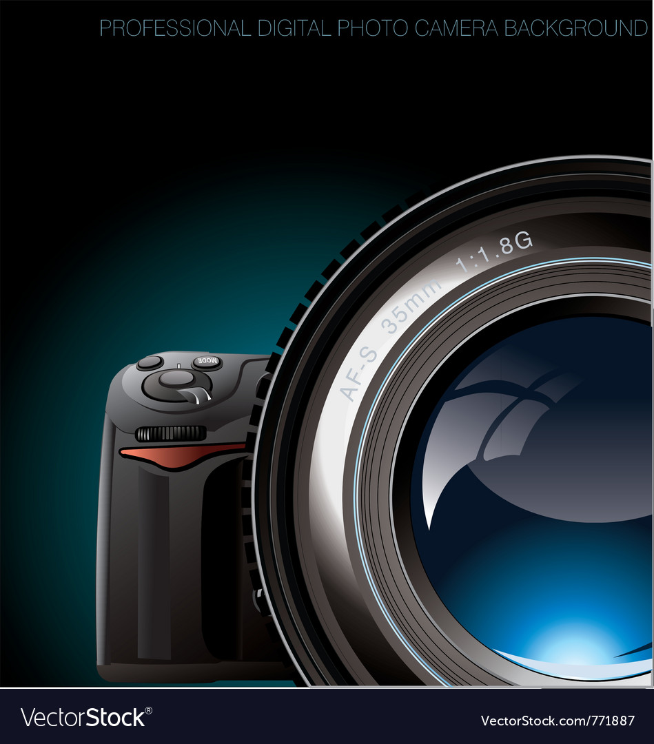 Professional digital photo camera background vector