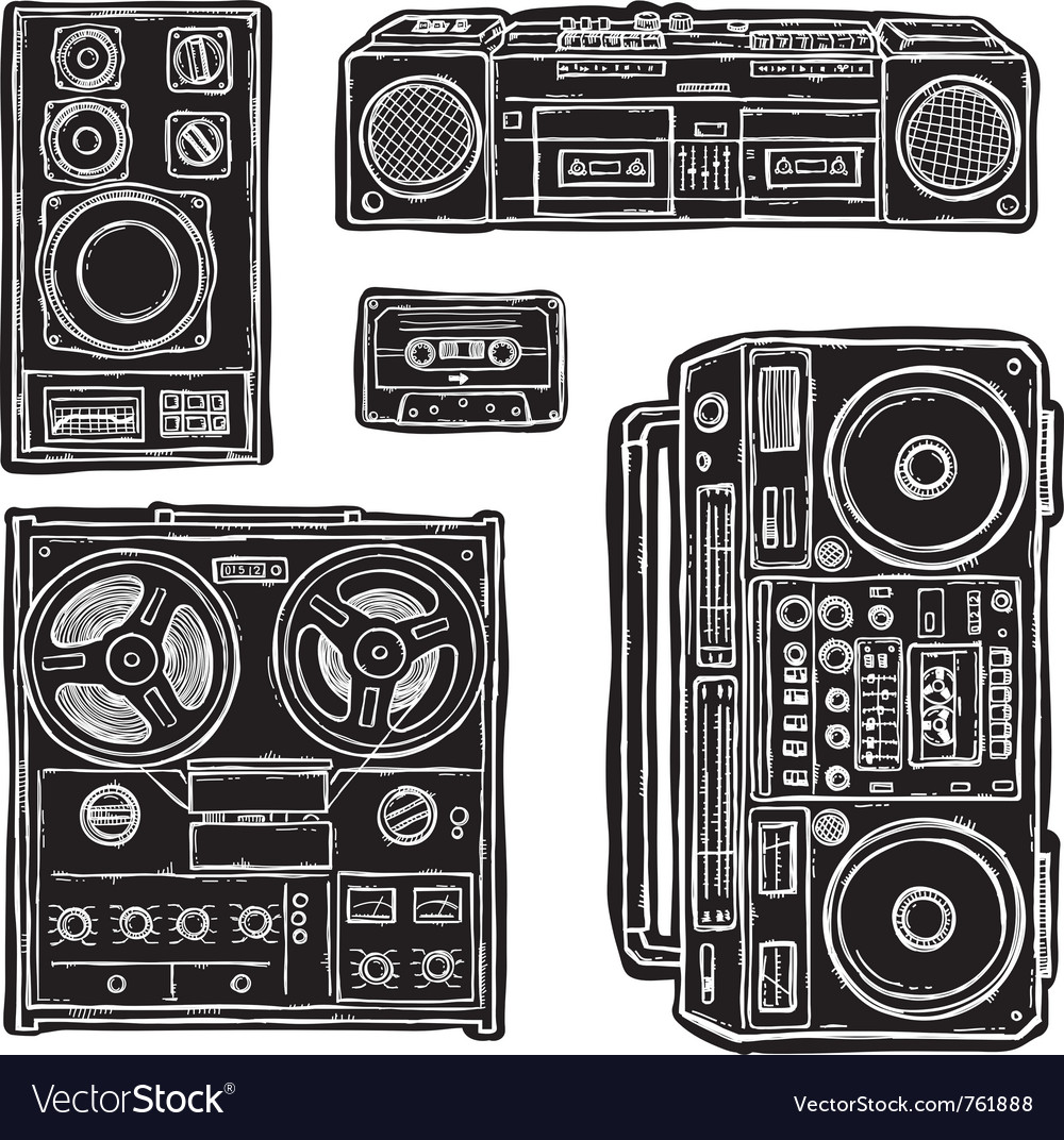 Set of tape recorders vector
