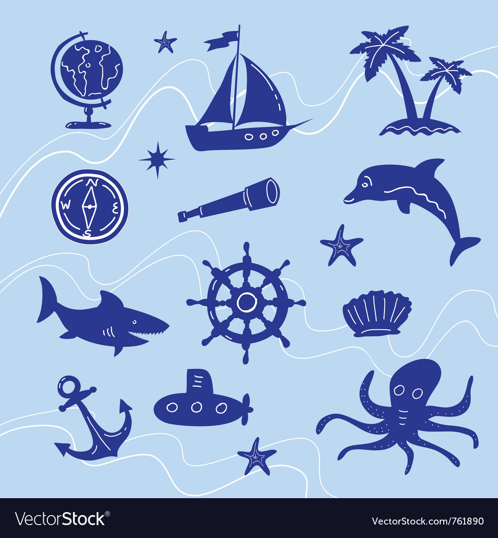 Sea adventure set vector