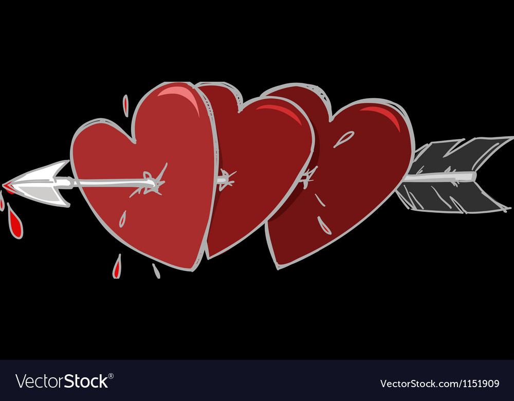 Three hearts and the arrow vector
