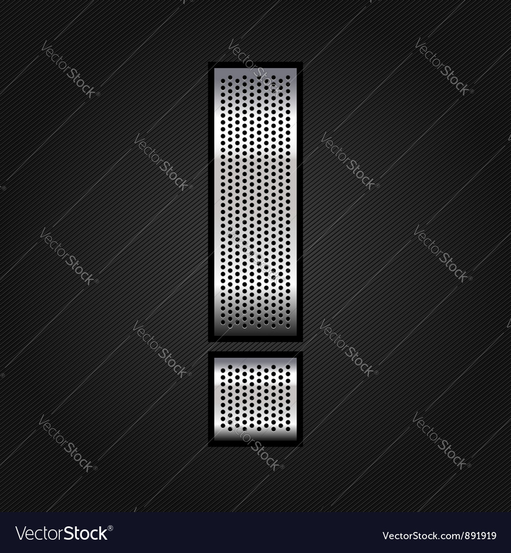 Letter metal chrome ribbon  exclamation mark vector
