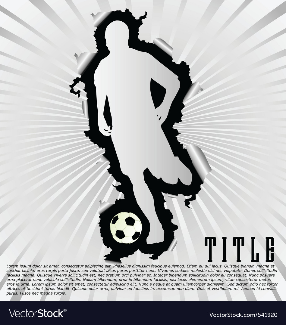 Soccer silhouette break through white background vector