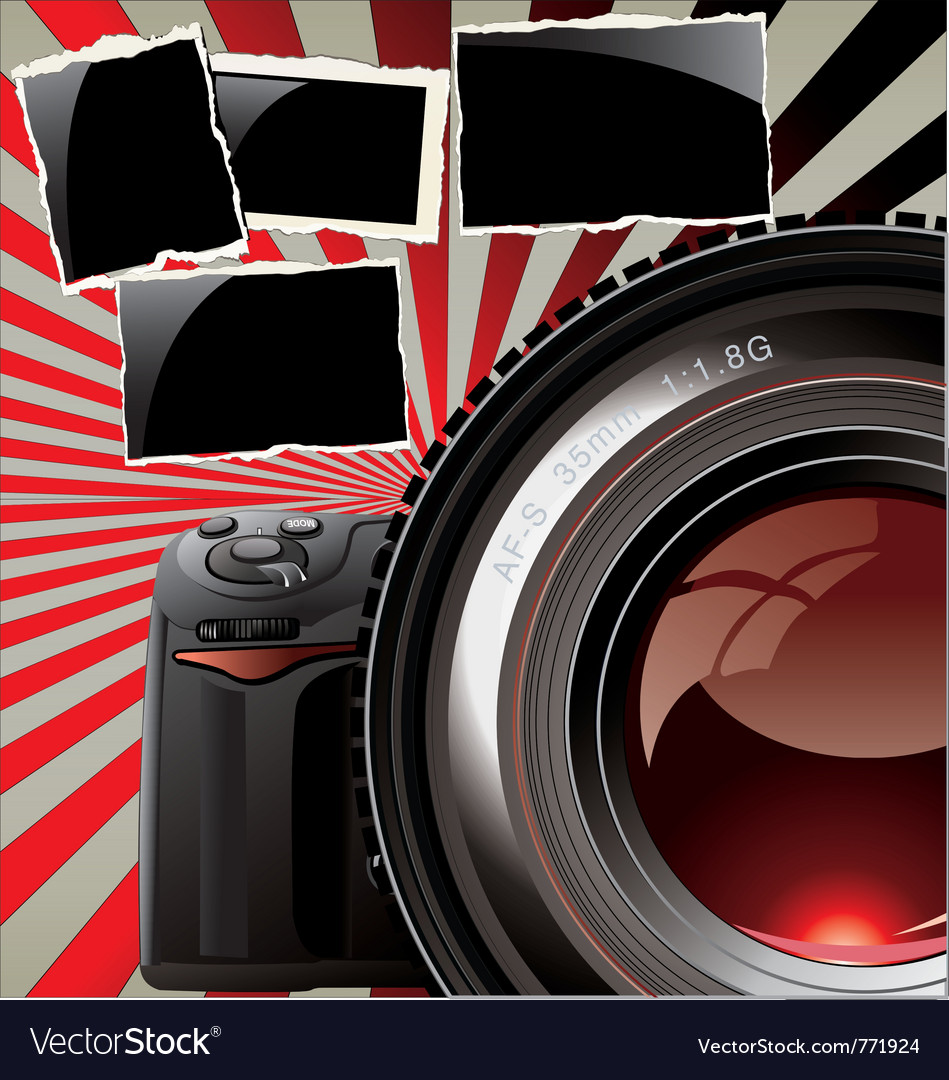 Retro background  professional camera vector