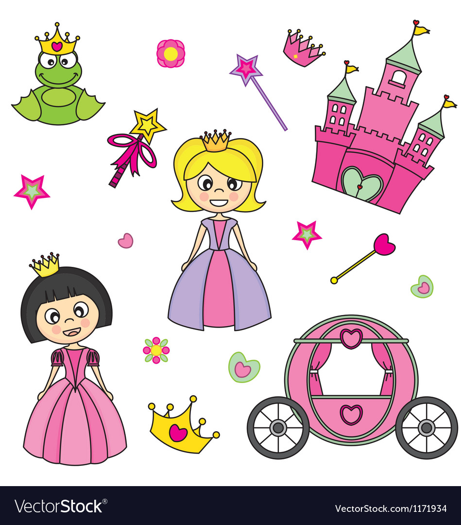 Set of stickers of princesses vector