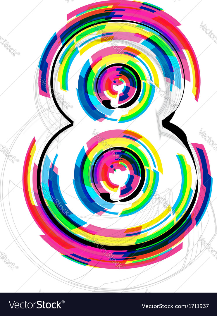 Colorful number 8 vector by aroas - Image #1711937 - VectorStock