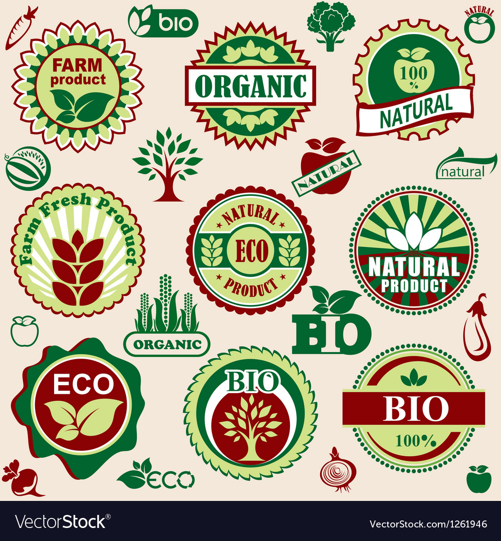 Healthy natural label vector