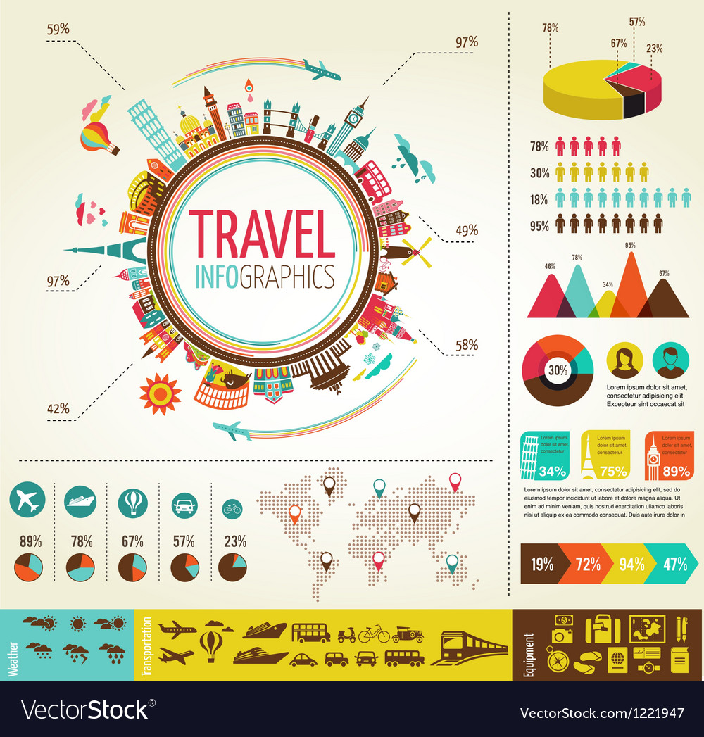 Travel and tourism infographics with data icons vector