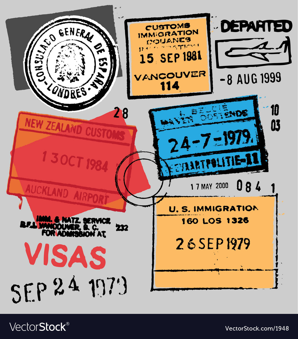 Free passport stamps vector