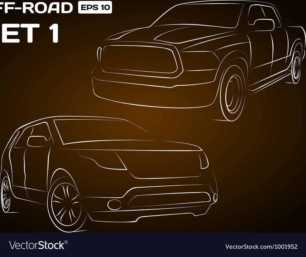 Offroad vehicle silhouettes vector