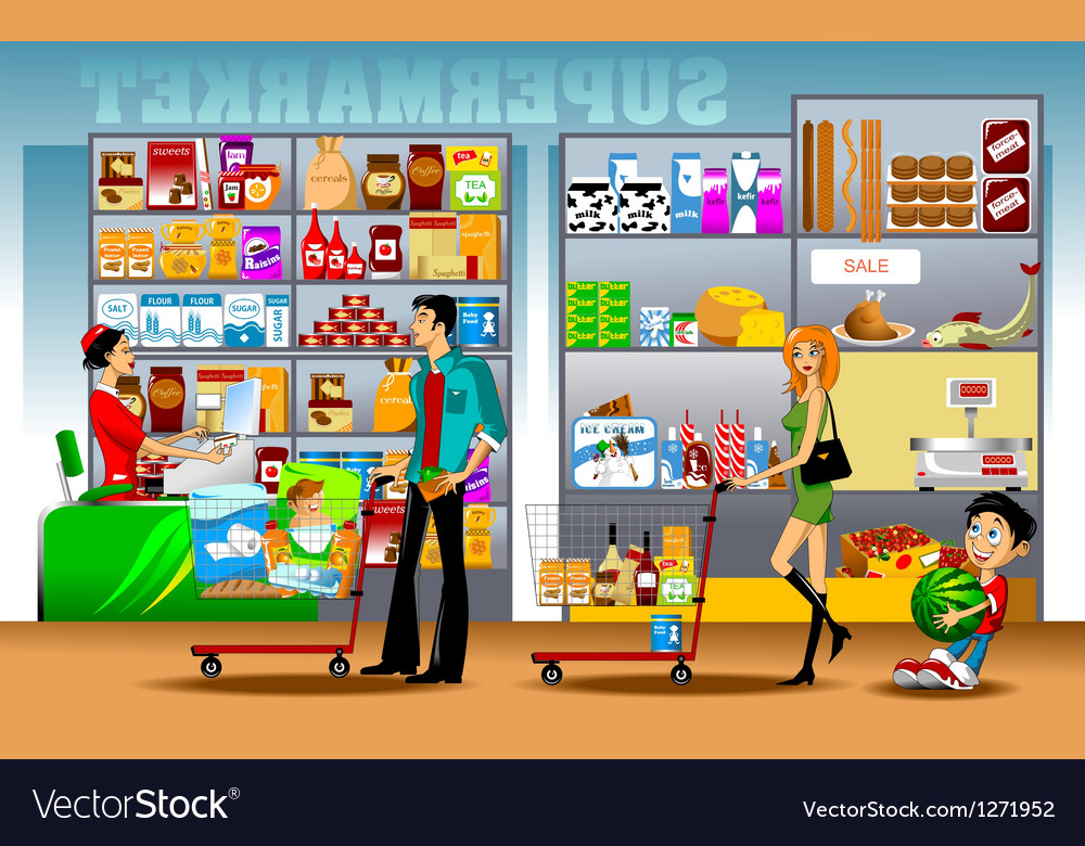 Supermarket shopping vector