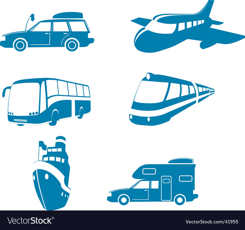 Transport and travel icons vector