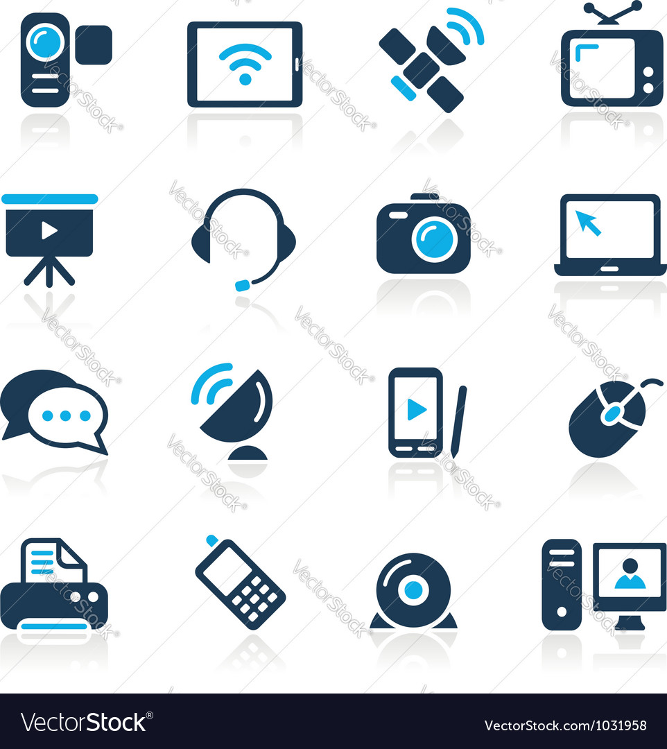 Communication icons azure series vector
