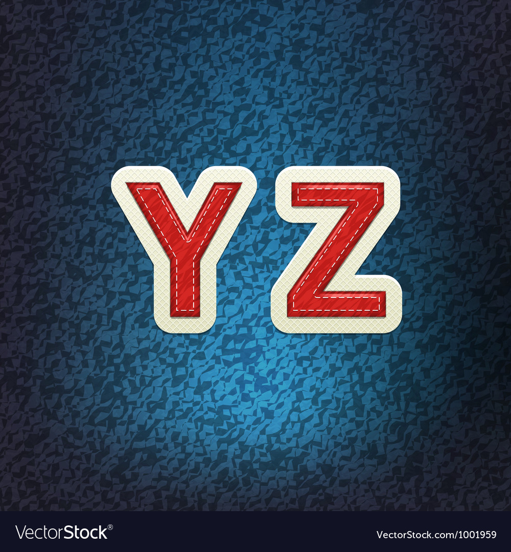 Stitched fabric font yz vector