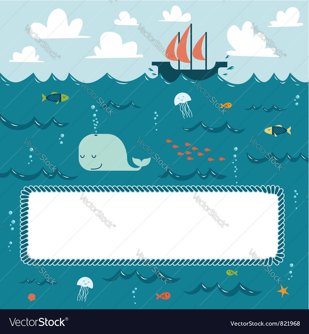 Deep blue sea frame vector
