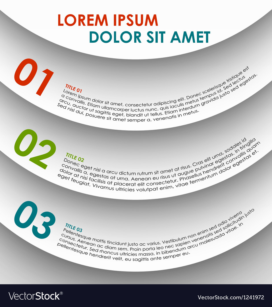Infographics options banner numbered banner vector