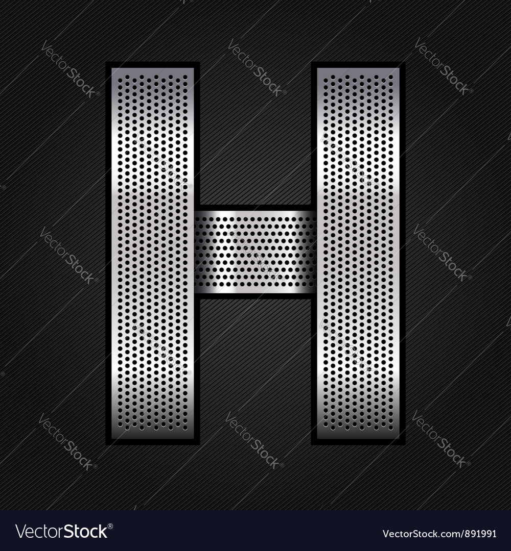 Letter metal chrome ribbon  h vector