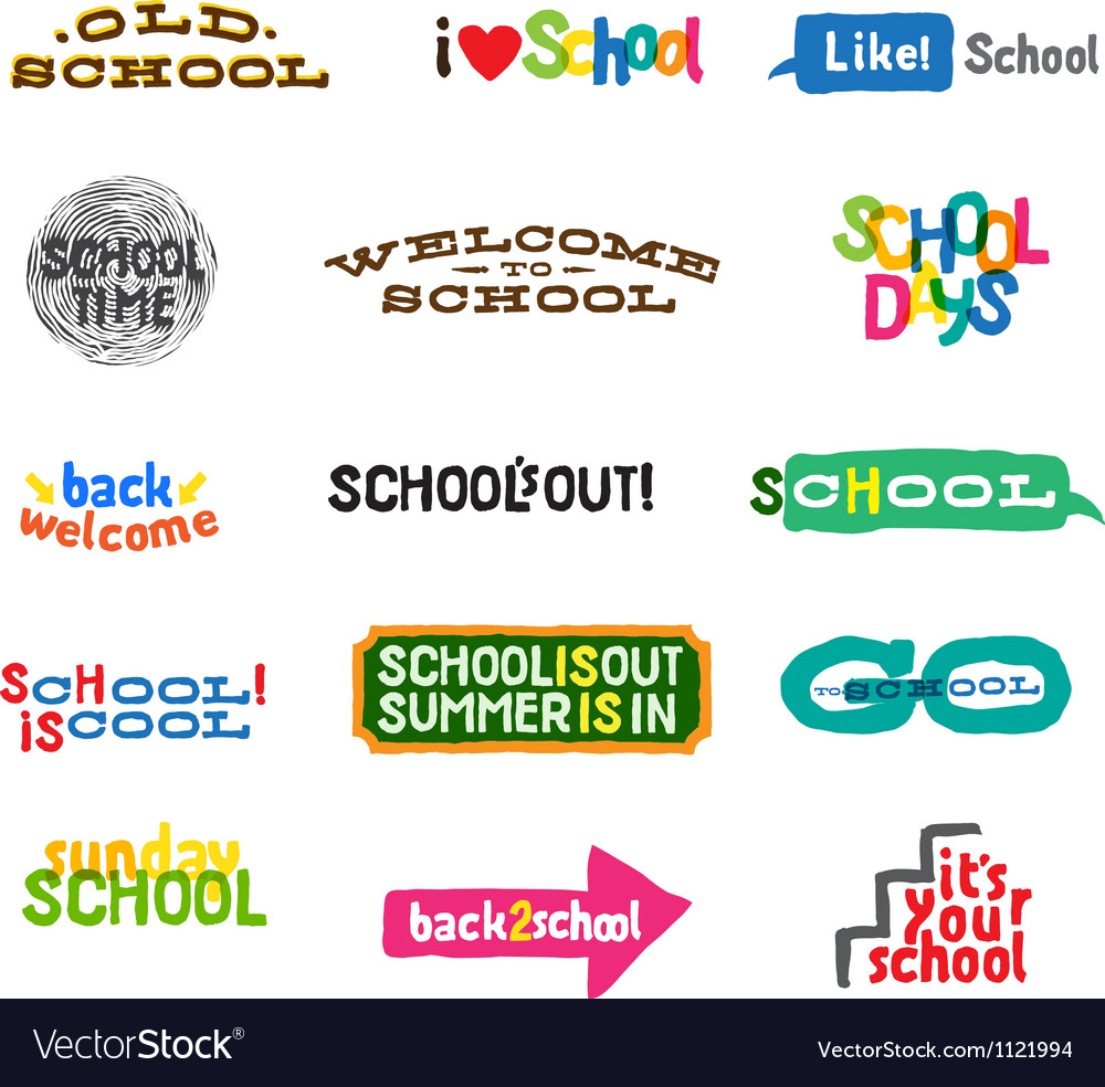 Label  school icons vector
