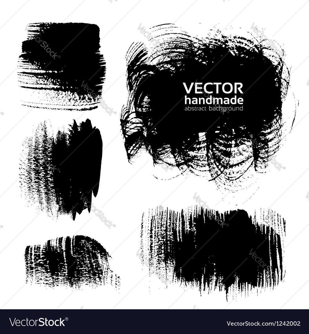 Black brush strokes on white background vector