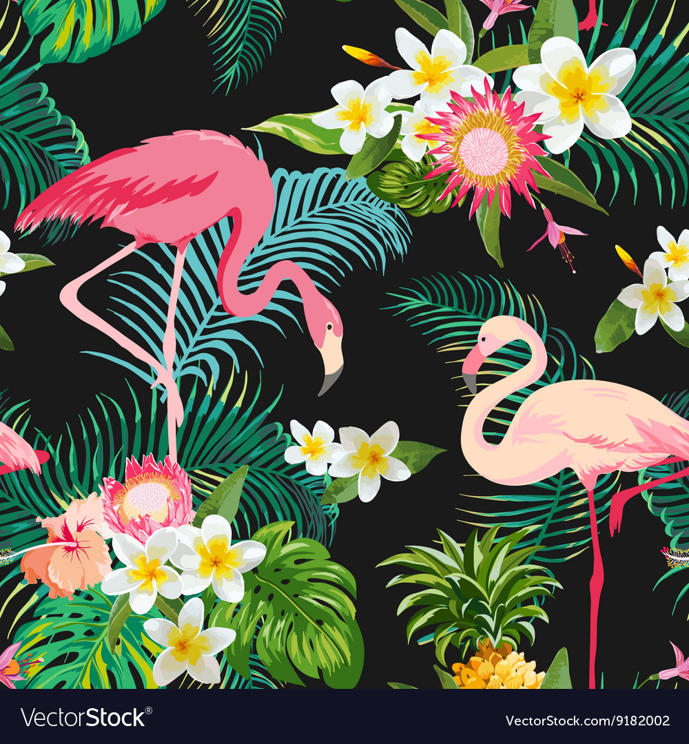 Vintage Style Tropical Bird And Flowers Background: Tropical Flowers And Birds Background Vintage Vector By
