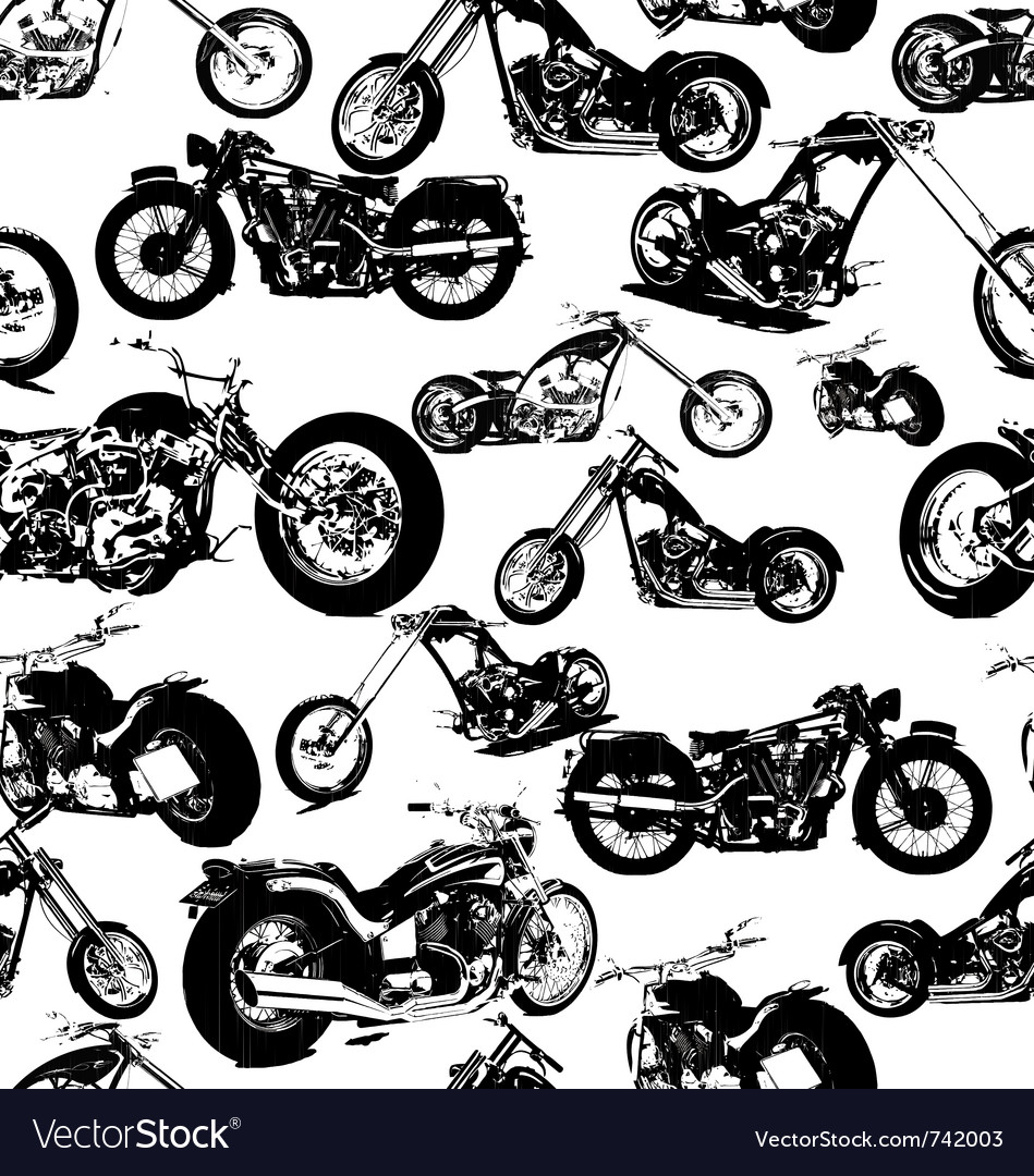 Seamless retro motorbike background vector
