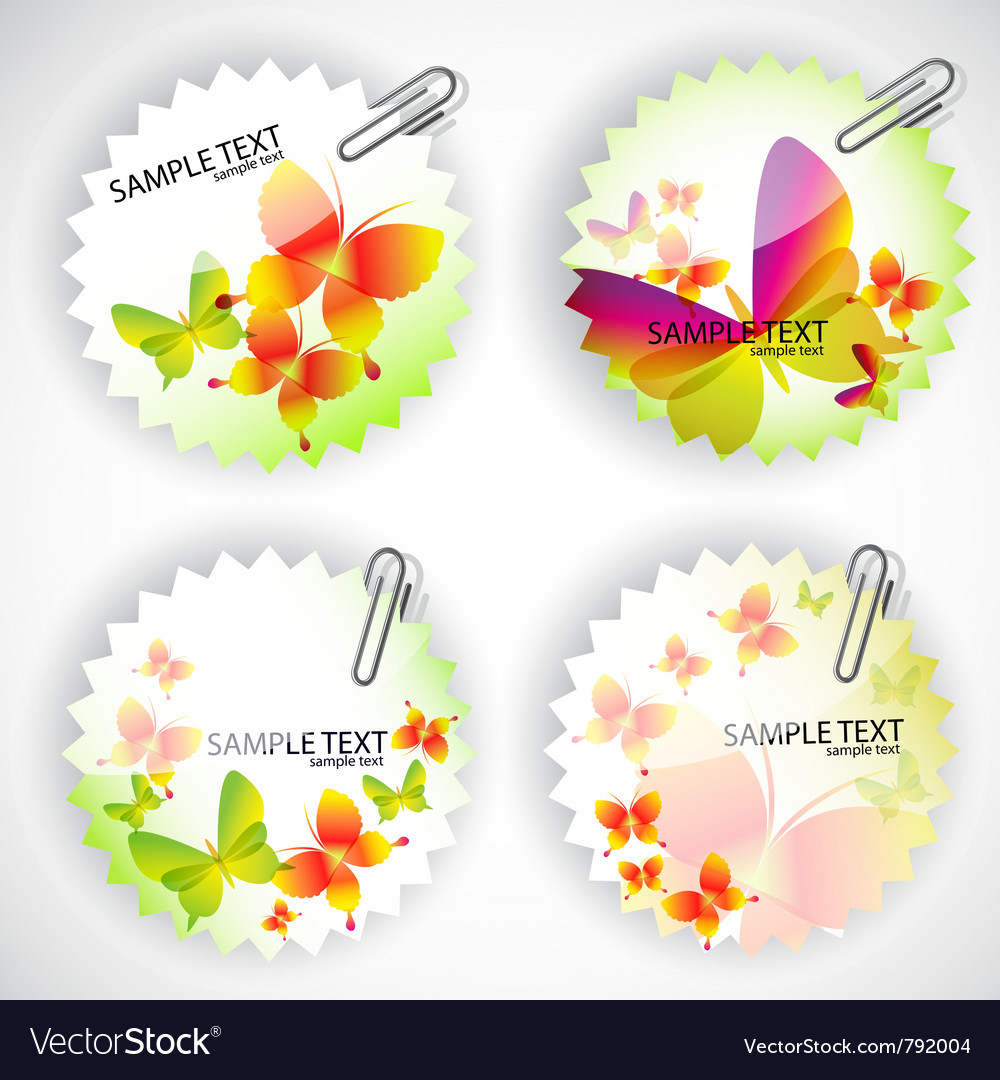 Butterflies stickers set vector