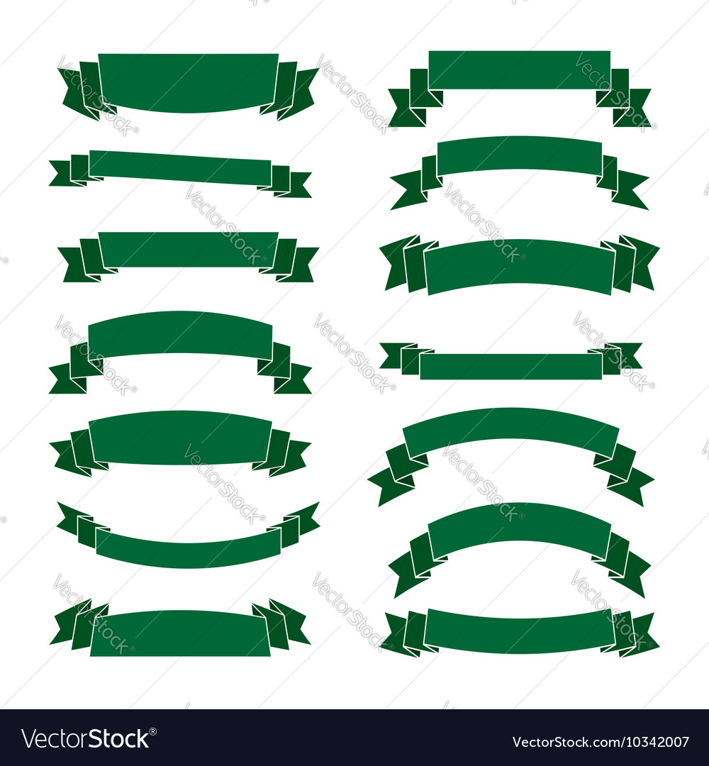 Green ribbon banners set beautiful blank vector by Alona_S ...