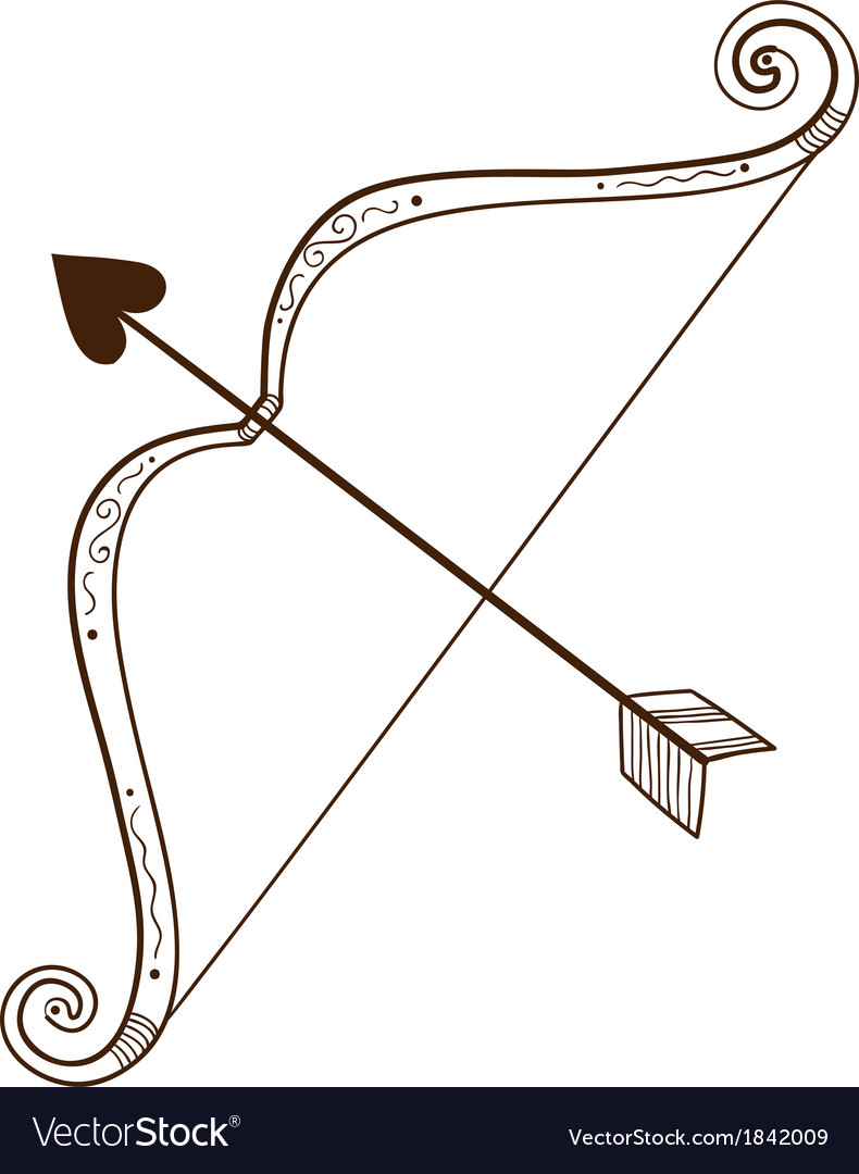 Bow with love arrow vector by Chuhail - Image #1842009 - VectorStock